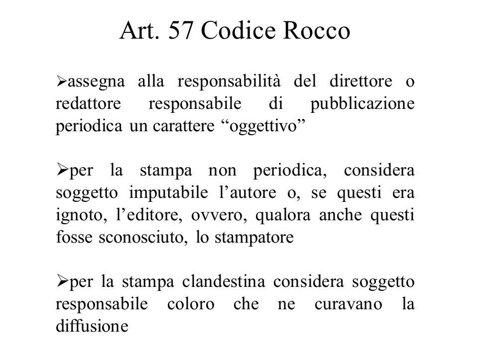 Art. 57 Codice Rocco assegna alla responsabilità del direttore o redattore responsabile di pubblicazione periodica un carattere oggettivo