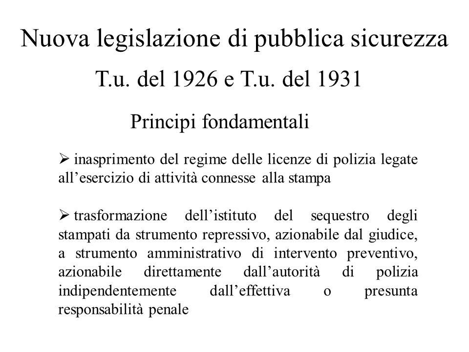 Nuova legislazione di pubblica sicurezza