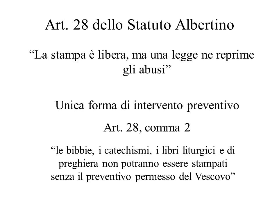 Art. 28 dello Statuto Albertino