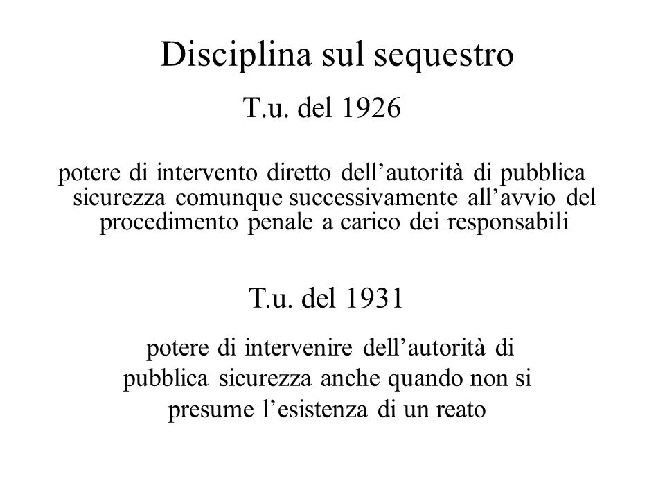 Disciplina sul sequestro