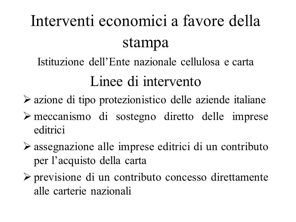Interventi economici a favore della stampa