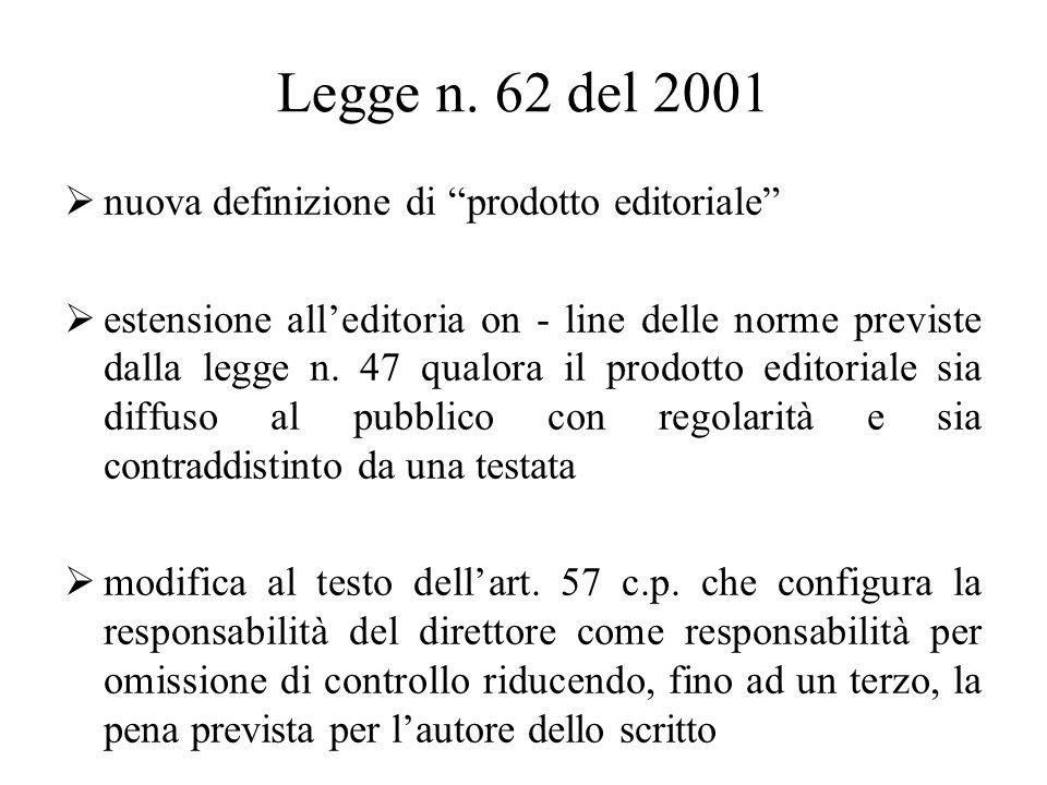 Legge n. 62 del 2001 nuova definizione di prodotto editoriale