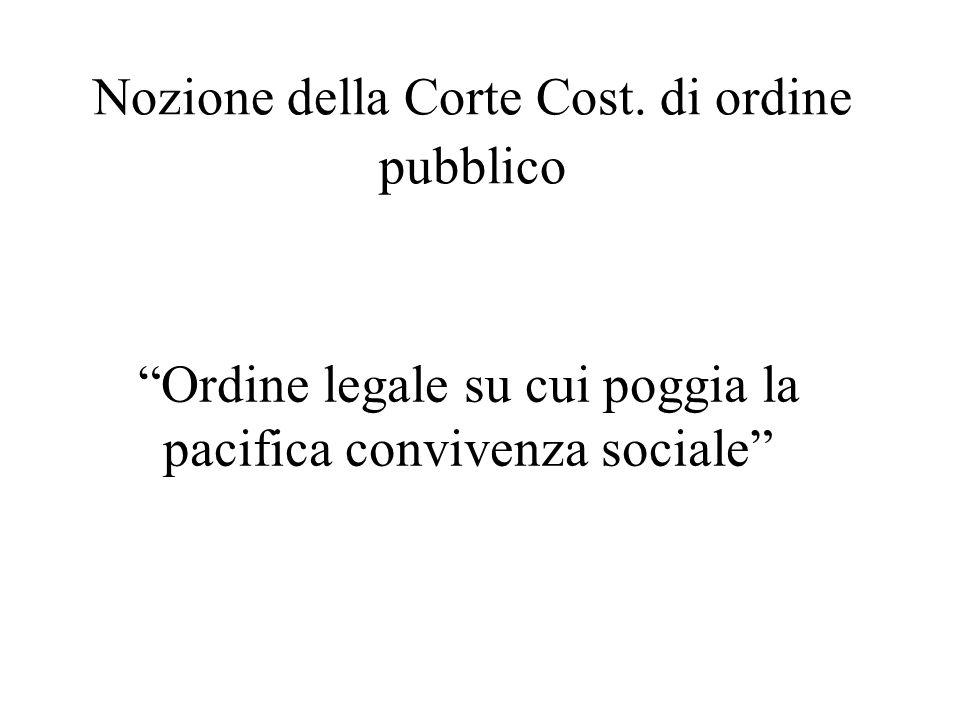 Nozione della Corte Cost. di ordine pubblico