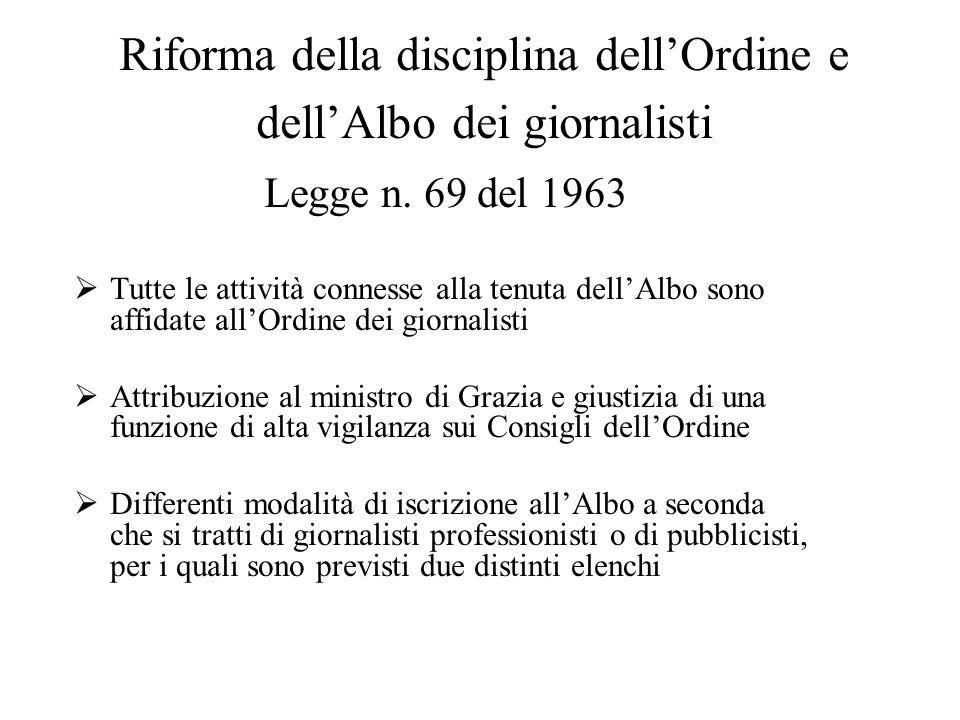 Riforma della disciplina dell'Ordine e dell'Albo dei giornalisti