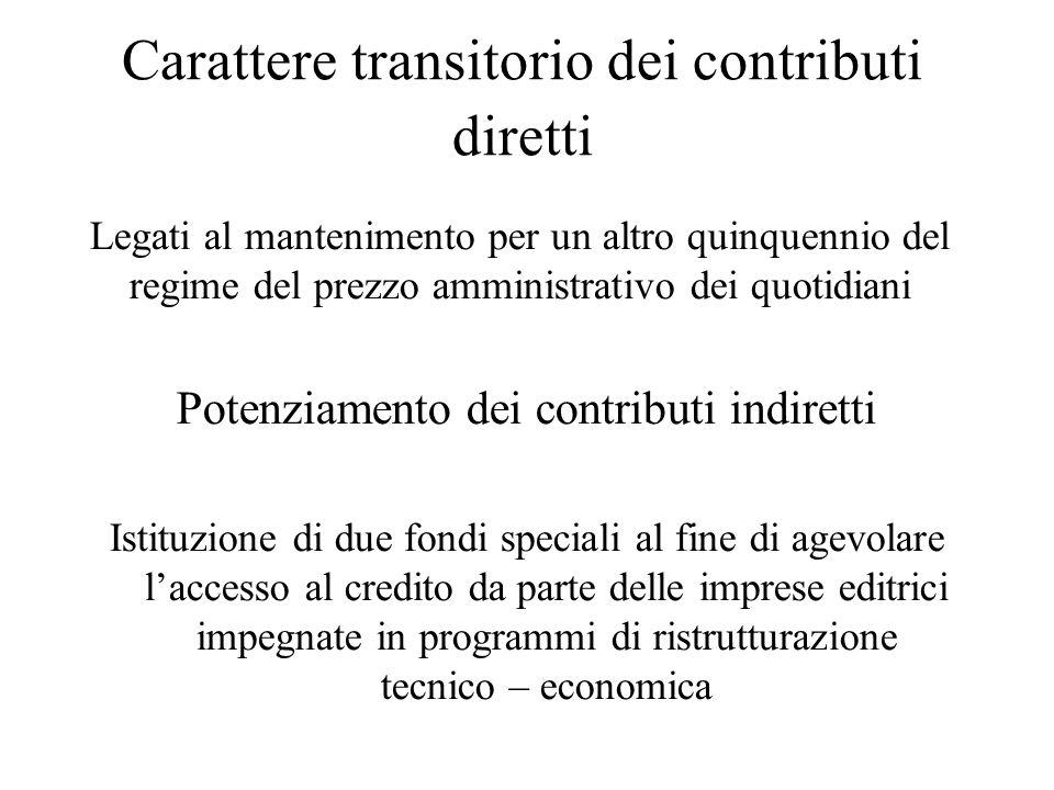 Carattere transitorio dei contributi diretti