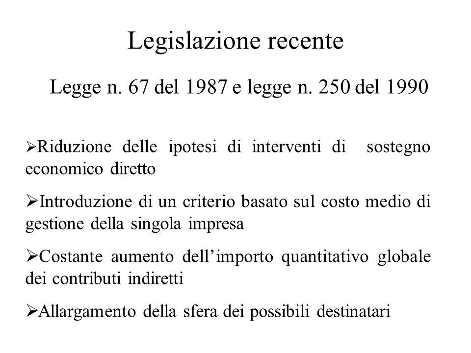 Legislazione recente Legge n. 67 del 1987 e legge n. 250 del 1990