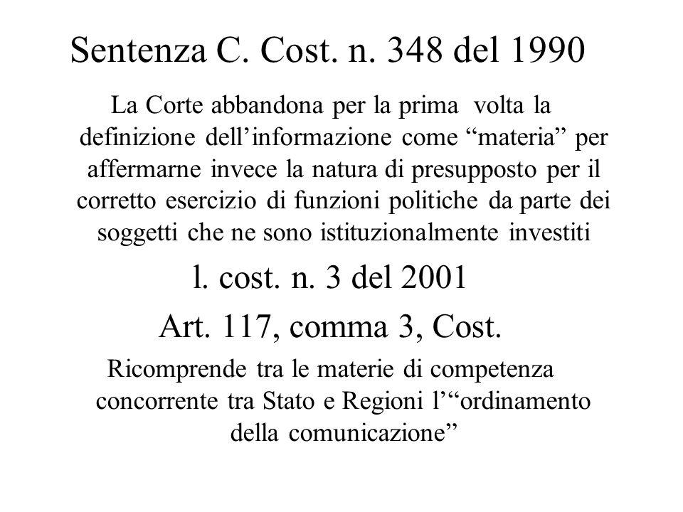 Sentenza C. Cost. n. 348 del 1990 l. cost. n. 3 del 2001