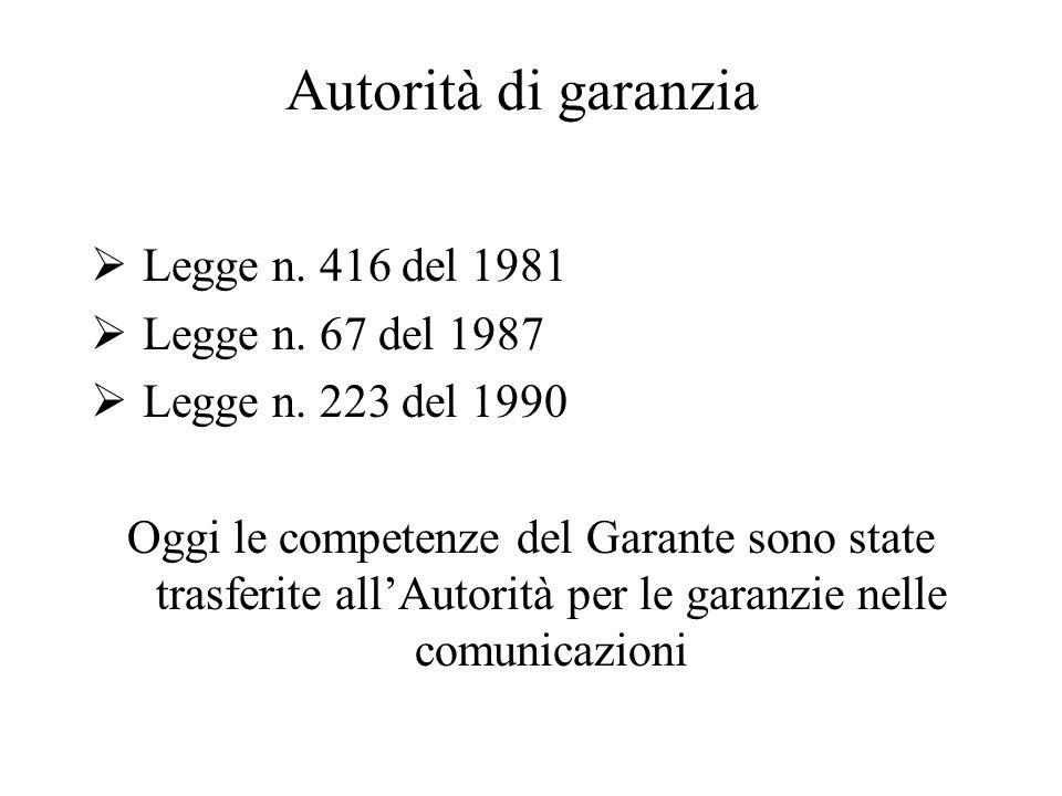 Autorità di garanzia Legge n. 416 del 1981 Legge n. 67 del 1987