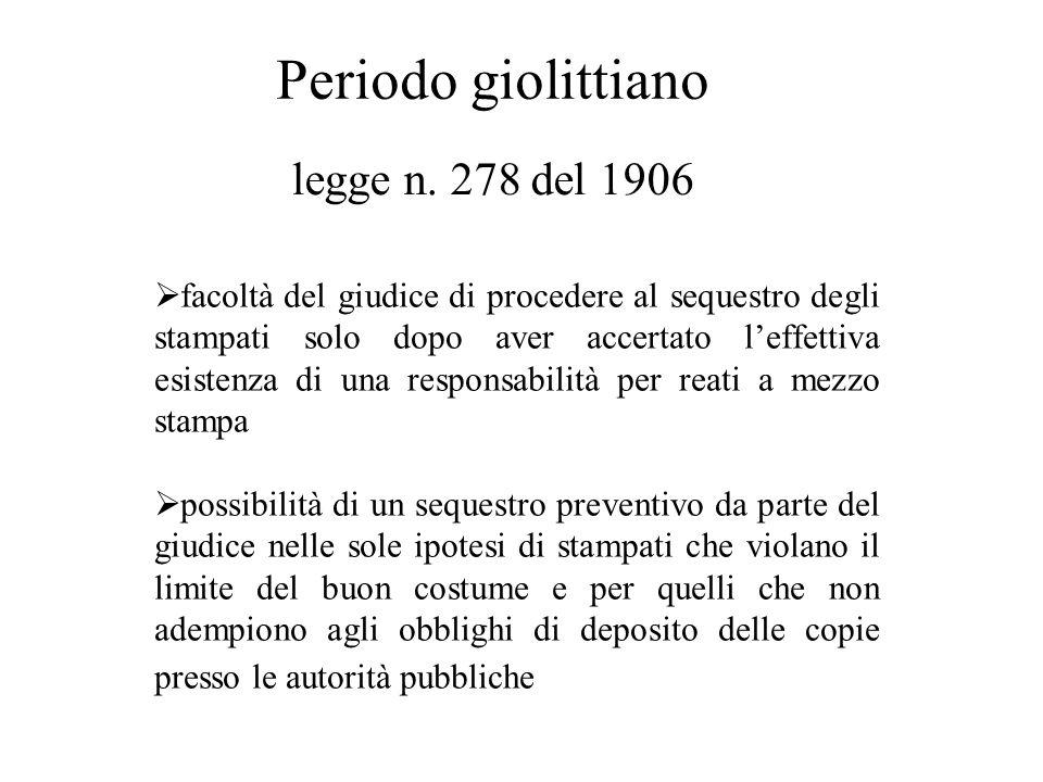 Periodo giolittiano legge n. 278 del 1906