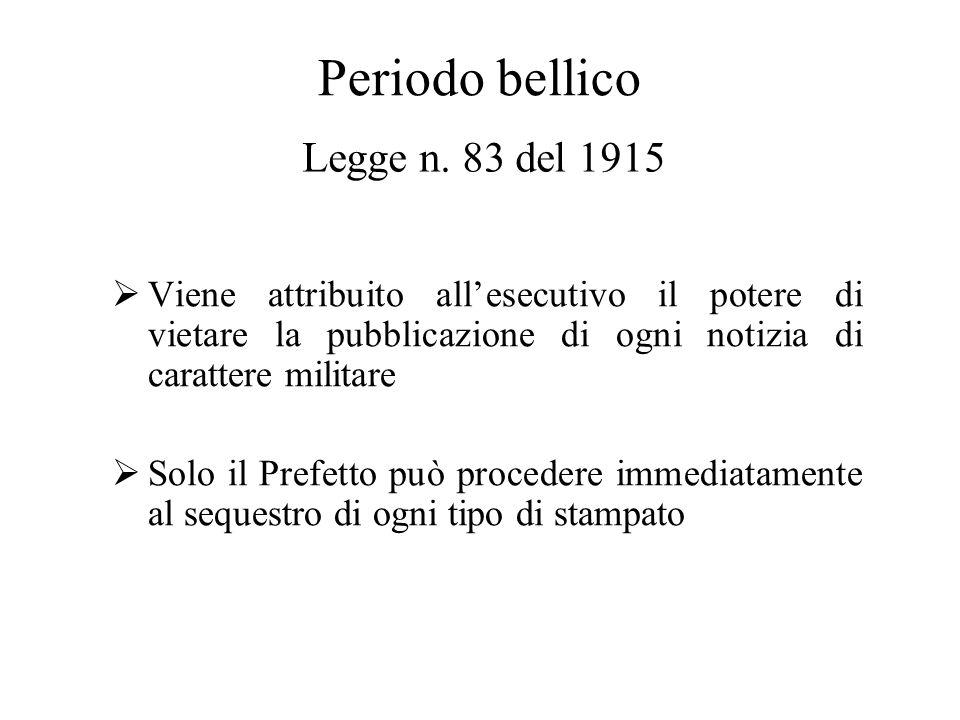 Periodo bellico Legge n. 83 del 1915