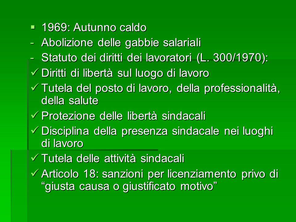 1969: Autunno caldo Abolizione delle gabbie salariali. Statuto dei diritti dei lavoratori (L. 300/1970):