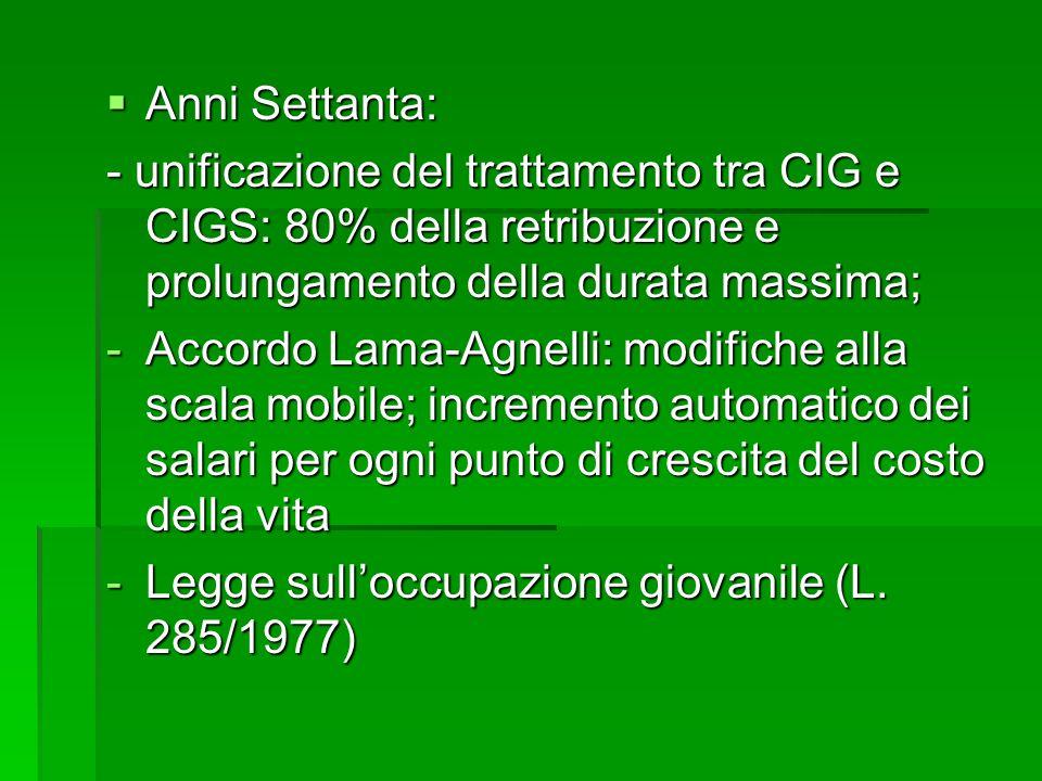 Anni Settanta: - unificazione del trattamento tra CIG e CIGS: 80% della retribuzione e prolungamento della durata massima;