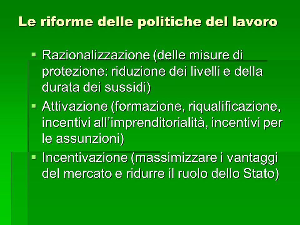 Le riforme delle politiche del lavoro