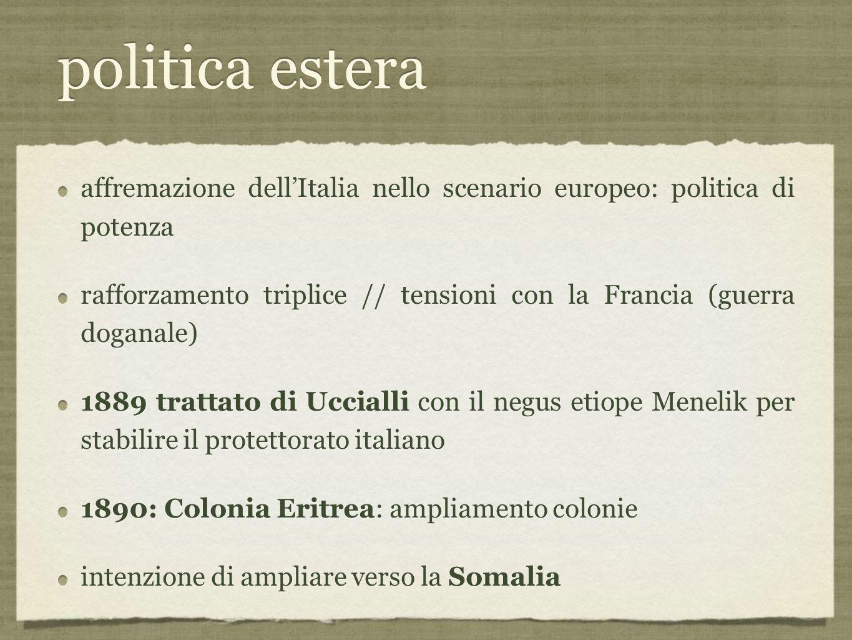 politica estera affremazione dell'Italia nello scenario europeo: politica di potenza.