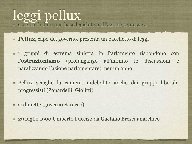 leggi pellux si cerca di dare una base legislativa all'azione repressiva. Pellux, capo del governo, presenta un pacchetto di leggi.