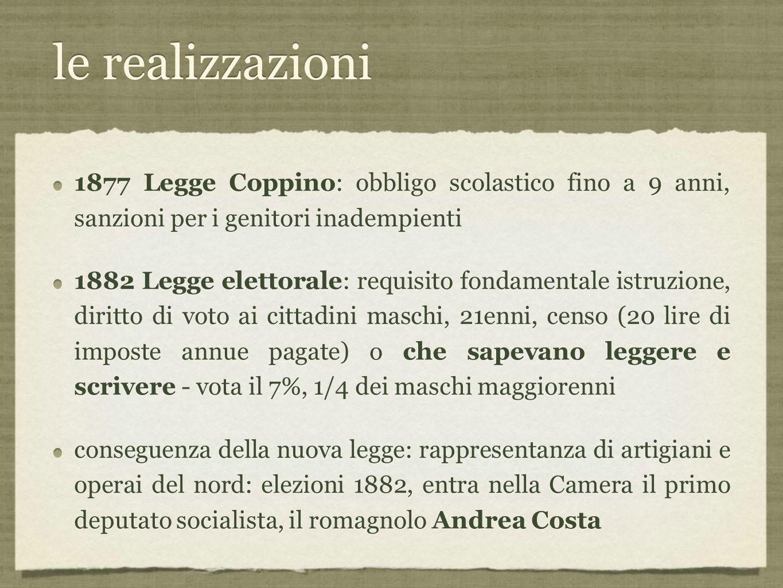 le realizzazioni 1877 Legge Coppino: obbligo scolastico fino a 9 anni, sanzioni per i genitori inadempienti.