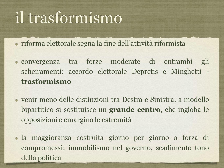 il trasformismo riforma elettorale segna la fine dell'attività riformista.