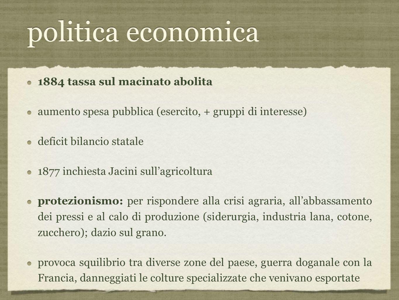 politica economica 1884 tassa sul macinato abolita