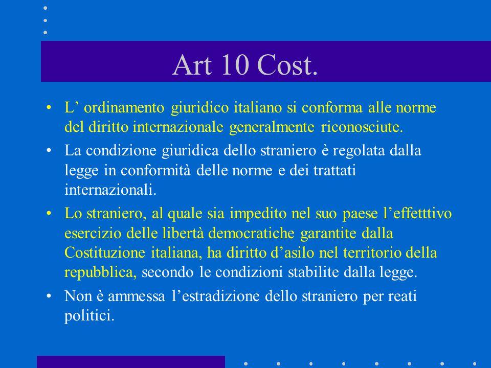 Art 10 Cost. L' ordinamento giuridico italiano si conforma alle norme del diritto internazionale generalmente riconosciute.