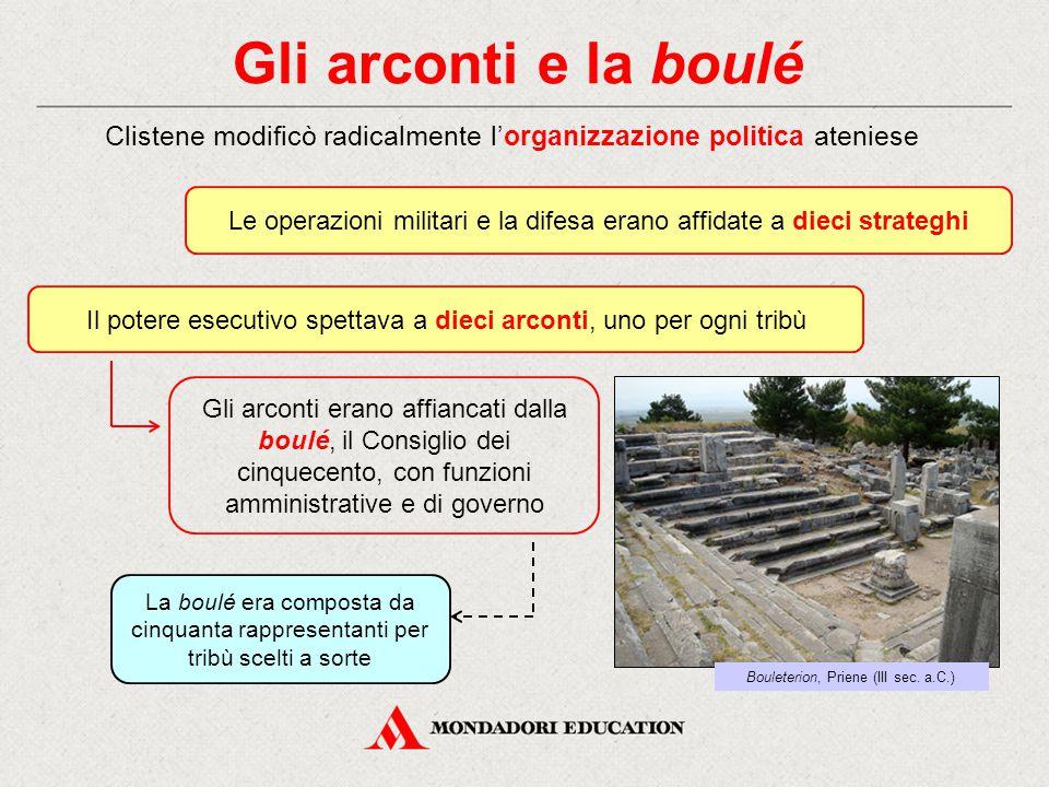 Gli arconti e la boulé Clistene modificò radicalmente l'organizzazione politica ateniese.