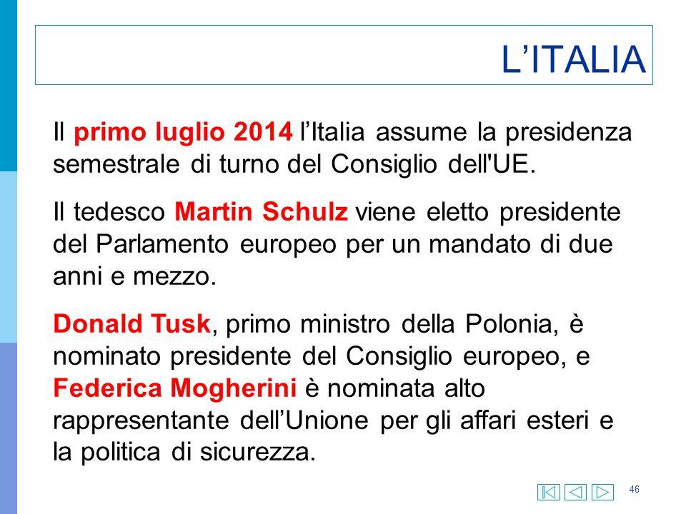 L'ITALIA Il primo luglio 2014 l'Italia assume la presidenza semestrale di turno del Consiglio dell UE.