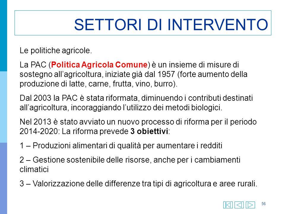 SETTORI DI INTERVENTO Le politiche agricole.