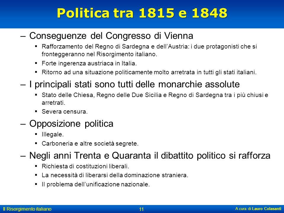 Politica tra 1815 e 1848 Conseguenze del Congresso di Vienna
