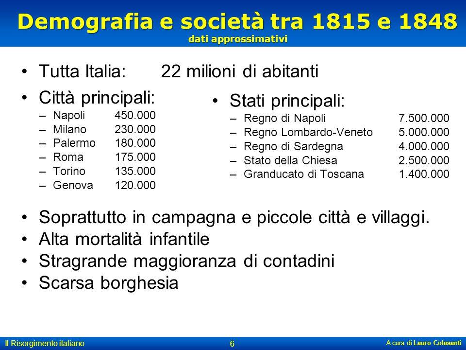 Demografia e società tra 1815 e 1848 dati approssimativi