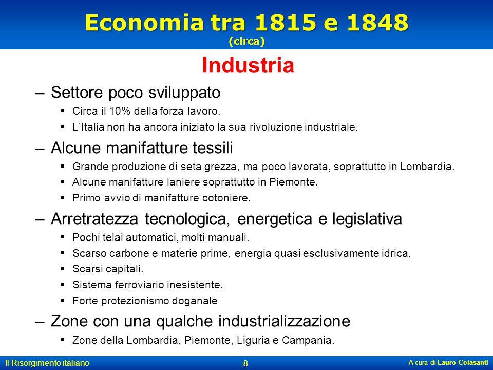Economia tra 1815 e 1848 (circa) Industria Settore poco sviluppato