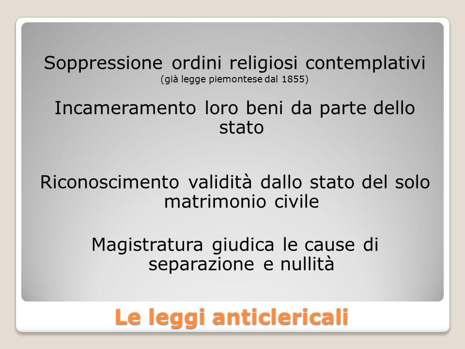 Le leggi anticlericali
