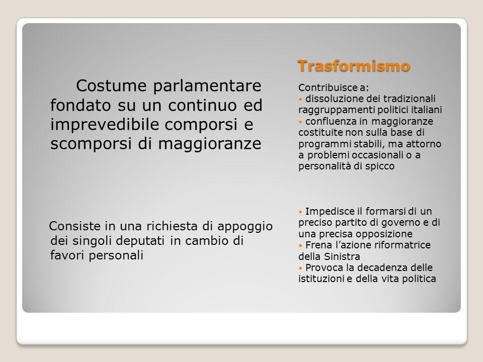 Trasformismo Costume parlamentare fondato su un continuo ed imprevedibile comporsi e scomporsi di maggioranze.