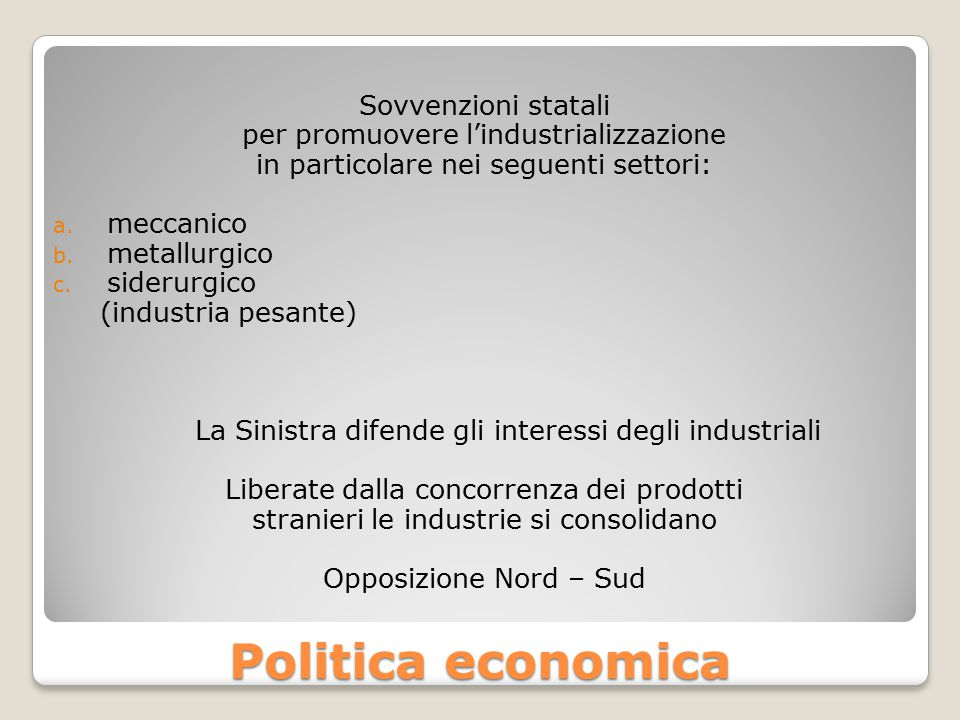 Politica economica Sovvenzioni statali
