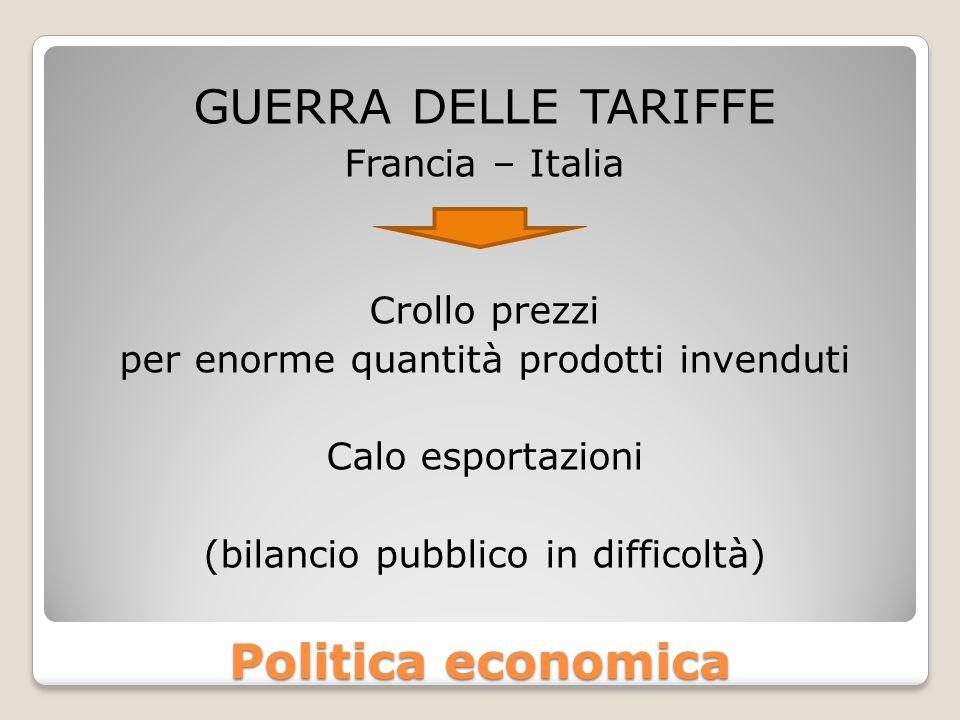 guerra delle tariffe Politica economica Francia – Italia Crollo prezzi