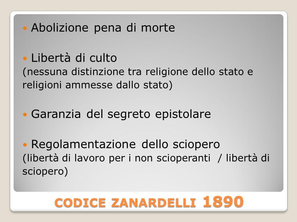 codice zanardelli 1890 Abolizione pena di morte Libertà di culto