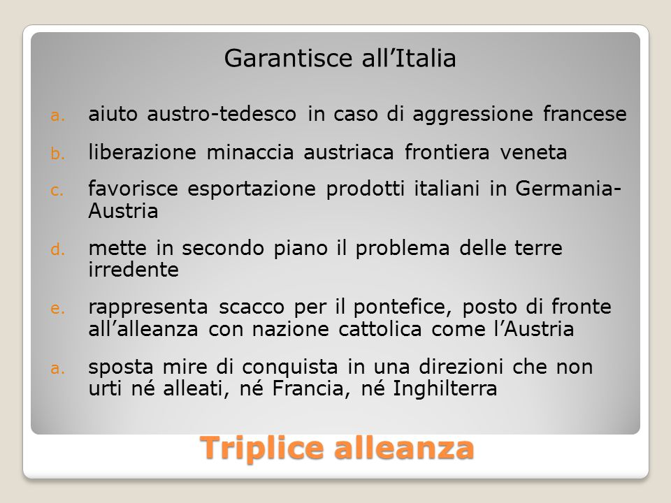 Garantisce all'Italia