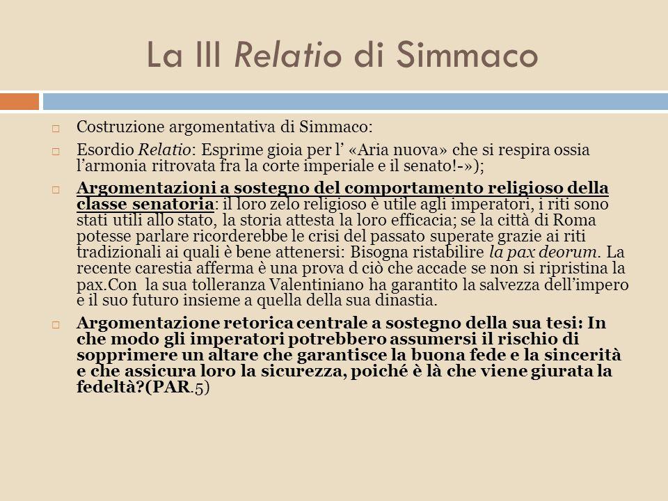 La III Relatio di Simmaco