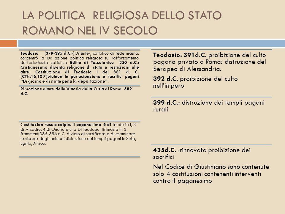 LA POLITICA RELIGIOSA DELLO STATO ROMANO NEL IV SECOLO