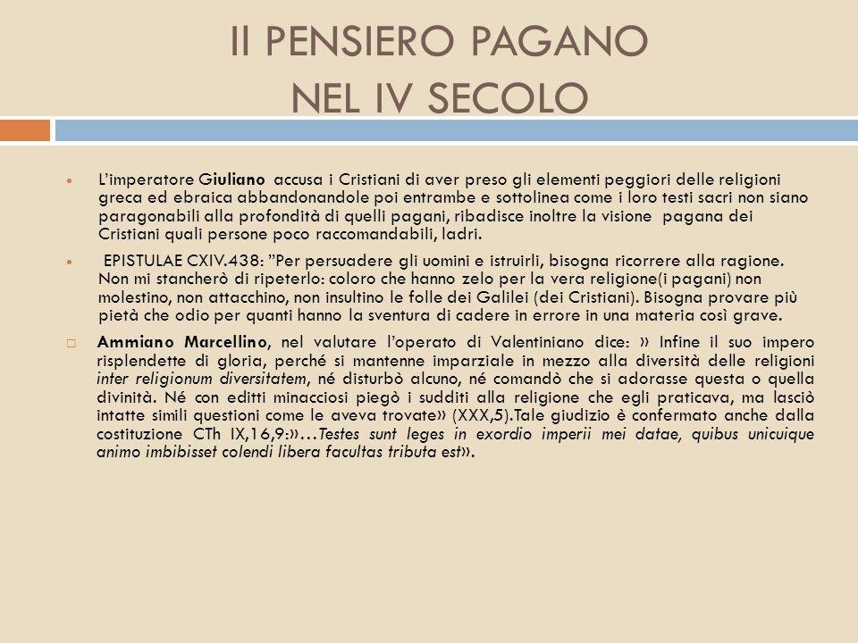 Il PENSIERO PAGANO NEL IV SECOLO
