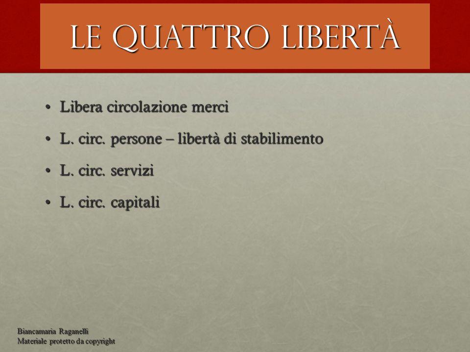 Le quattro libertà Libera circolazione merci