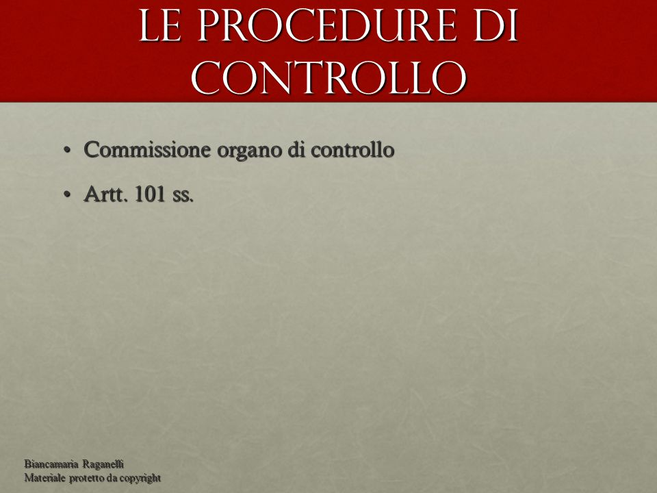 Le procedure di controllo