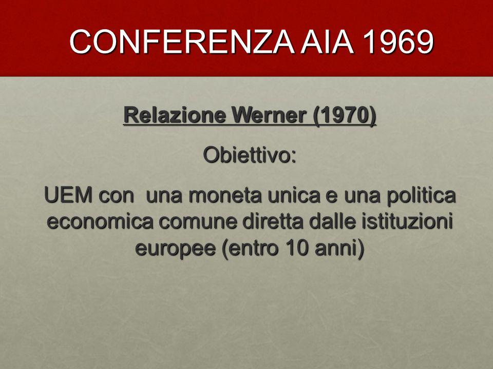 CONFERENZA AIA 1969 Relazione Werner (1970) Obiettivo: