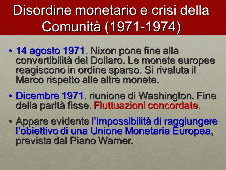 Disordine monetario e crisi della Comunità (1971-1974)