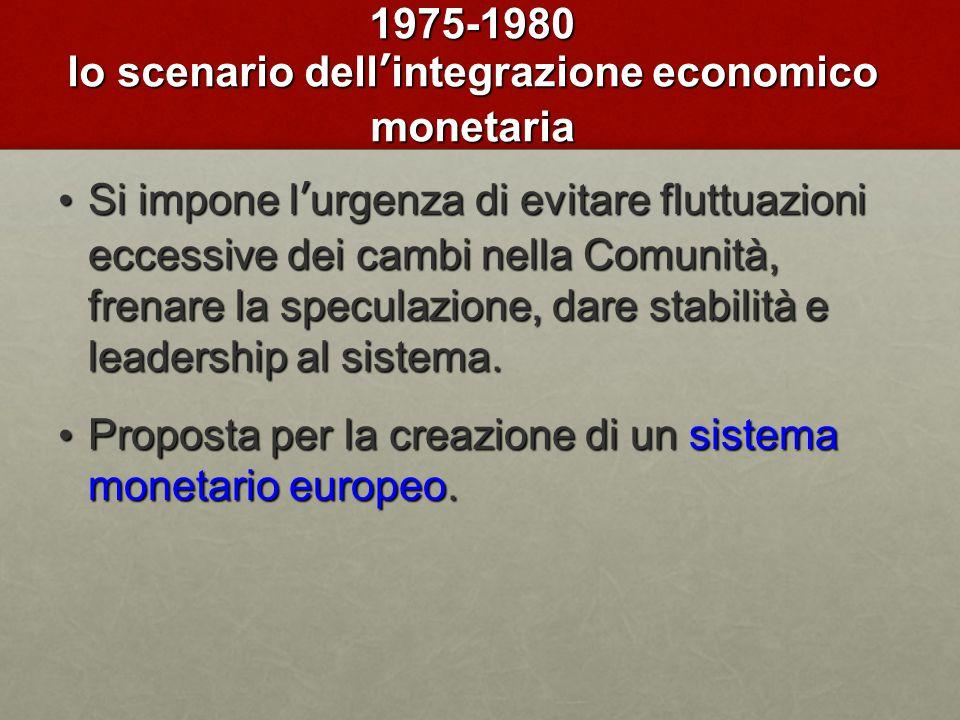 1975-1980 lo scenario dell'integrazione economico monetaria