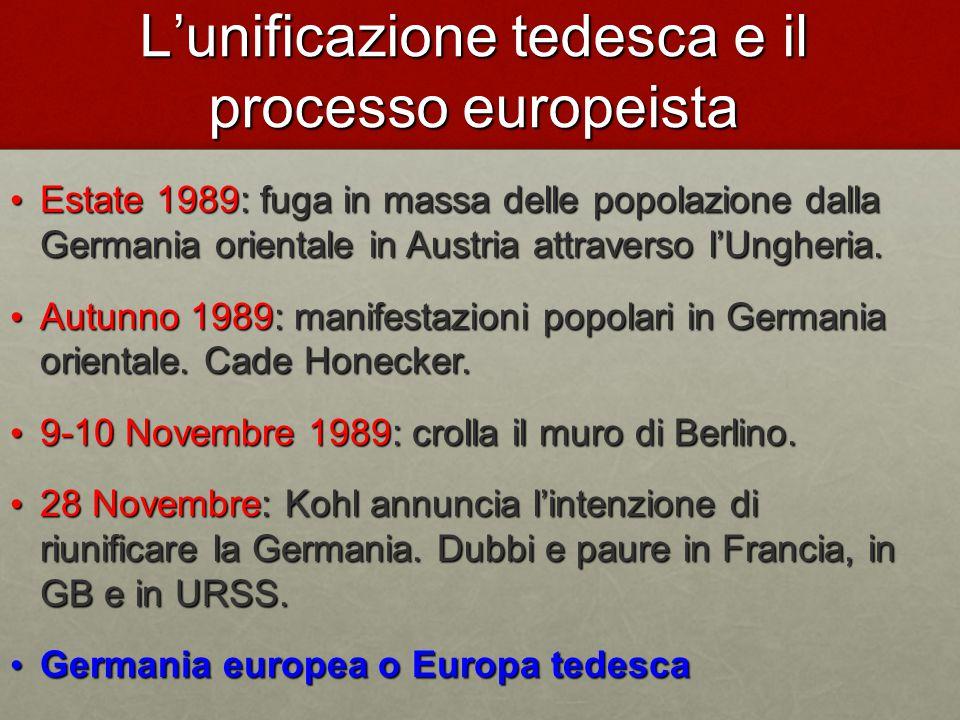 L'unificazione tedesca e il processo europeista