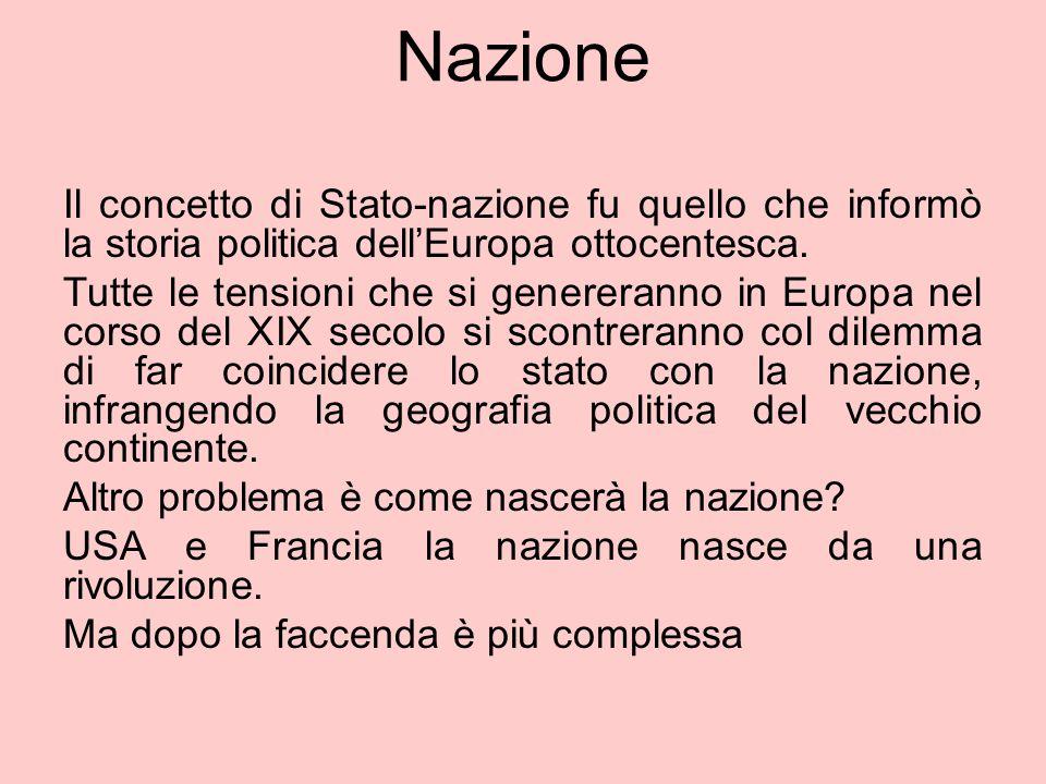 Nazione Il concetto di Stato-nazione fu quello che informò la storia politica dell'Europa ottocentesca.