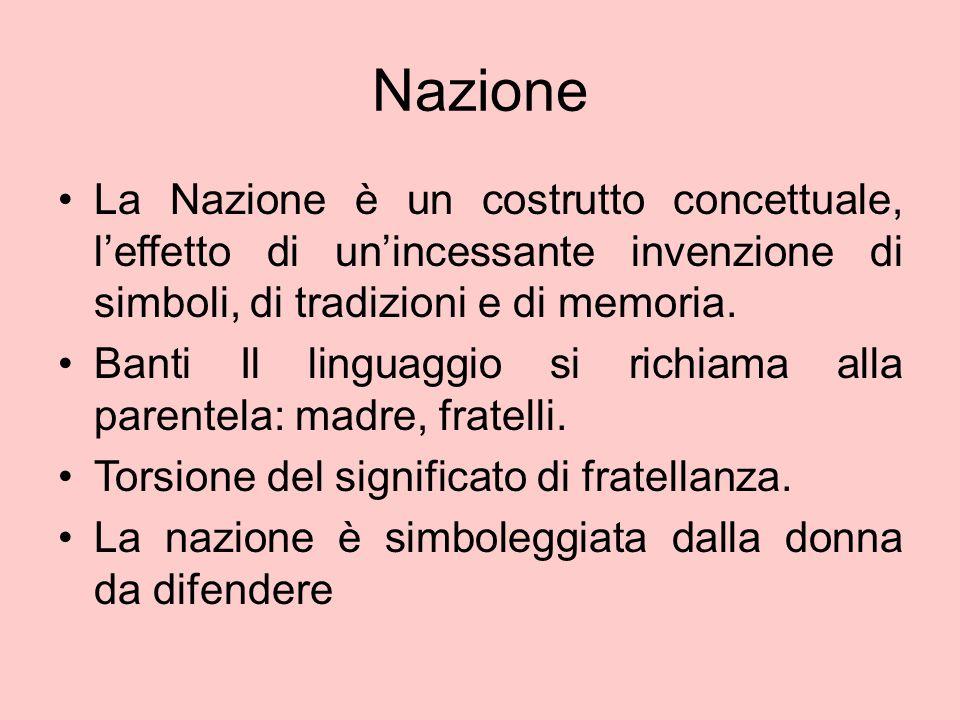 Nazione La Nazione è un costrutto concettuale, l'effetto di un'incessante invenzione di simboli, di tradizioni e di memoria.