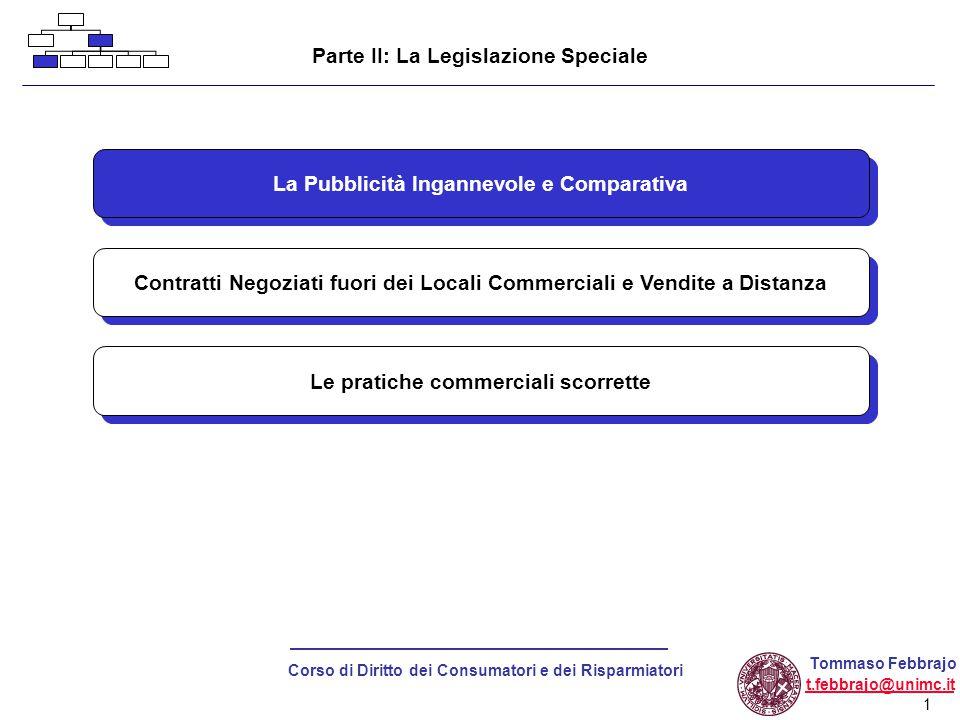 Parte II: La Legislazione Speciale