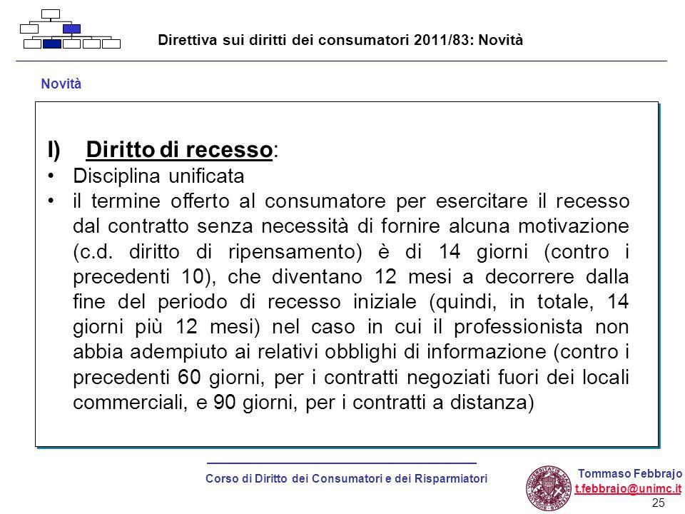 Direttiva sui diritti dei consumatori 2011/83: Novità