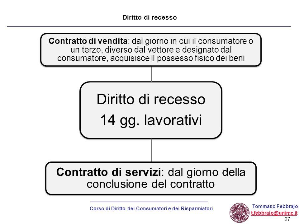 Contratto di servizi: dal giorno della conclusione del contratto