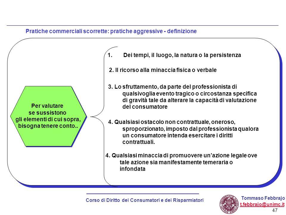 Pratiche commerciali scorrette: pratiche aggressive - definizione